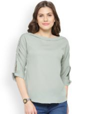 Flat 65% off on plusS Women Grey Solid Top