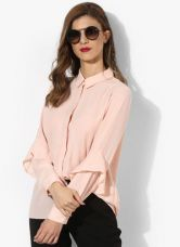 Buy Dorothy Perkins Peach Solid Shirt for Rs. 986