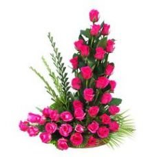 Buy Cute Basket Of Fresh Pink Roses Flower Gift -282 for Rs. 886