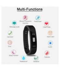 Bingo F0 Wave Fitness Tracker with Blood Pressure & Heart Rate Monitoring  (Black Strap Regular) for Rs. 999