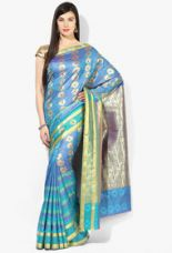 Flat 61% off on Parchayee Blue Art Silk Self Design Saree With Blouse