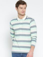 Buy Striped Polo Collar T-shirt from Myntra