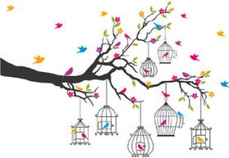 Buy Flower and Birds Wall Sticker (90cmx133cm) - Multicolor for Rs. 99