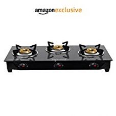 Lifelong Glass Top Gas Stove, 3 Burner Gas Stove, Black (1 year warranty with Doorstep Service) for Rs. 2,639