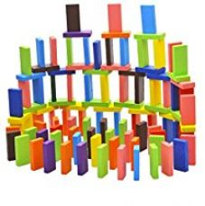 Home Cube® Standard Wooden Domino Run Board Building Blocks Educational Toys for Children Boy Girl Games Kids Gift - (Pack of 120 Pcs) for Rs. 415