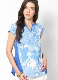 Flat 35% off on W Blue Printed Blouse