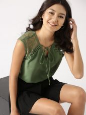 Get 20% off on DressBerry Women Olive Green Lace Detail Top