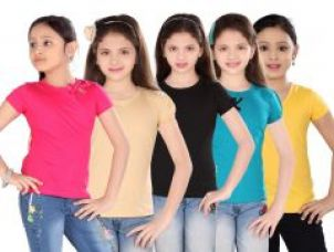 Get 56% off on Sinimini Girls Colorfull Top ( Pack Of 5 )- (code-sm300_rp_bei_bla_pet_gy_1)