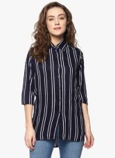 Flat 65% off on Mayra Navy Blue Striped Shirt