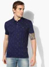 Flat 50% off on John Players Navy Blue Printed Slim Fit Polo T-Shirt