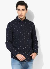 Flat 60% off on John Players Navy Blue Printed Slim Fit Casual Shirt
