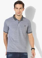 John Players Grey Textured Slim Fit Polo T-Shirt for Rs. 650