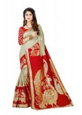 Mahadev Enterprises Chicku & Red Super Stabery Soft Silk Saree With Unstitched Blouse Piece (code - Pf170) for Rs. 549