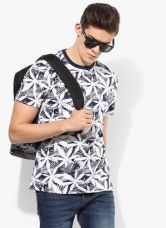 Buy John Players White Printed Slim Fit Round Neck T-Shirt from Jabong