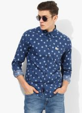 Get 45% off on U.S. Polo Assn. Blue Printed Slim Fit Casual Shirt