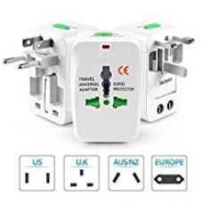 Obbi- International All in One Universal World Wide Travel Plug Adapter with Surge Protector - Supports more then 150 countries (White) for Rs. 219