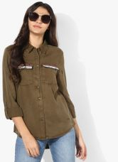 Buy Vero Moda Olive Solid Shirt for Rs. 1450