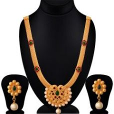 Flat 71% off on Spargz Flower Gold Plated Kempu Stone With Pearl Matte Finish Necklace Set With Earrings Wedding Party For Women (code - Ains 214)
