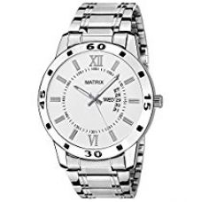 Matrix Analogue White Dial Stainless Steel Strap Men's Watch with Day and Date Display - DD-4-WH-ST for Rs. 379