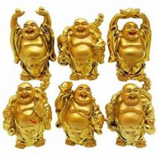 Get 52% off on Set of 6 laughing Buddha in 6 different Poses set for Wealth, Health and Goodluck Decorative Showpiece