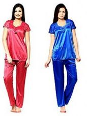 Buy Klick2Style Blue and Peach Satin Plain Pyajama Set Combo of 2 for Rs. 499