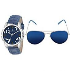 Buy Decode Combo Of Analogue Blue Dial Watch & Aviator Men's Sunglasses-(WS 574Blue-003SLV Blue) from Amazon