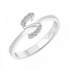 Buy Vighnaharta initial ''S'' Alphabet (CZ)  Rhodium Plated Alloy Ring for Girls and Women - VFJ1191FRR16 for Rs. 219