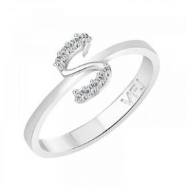 Get 57% off on Vighnaharta initial ''S'' Alphabet (CZ)  Rhodium Plated Alloy Ring for Girls and Women - VFJ1191FRR16