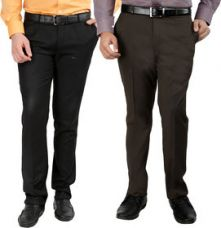 Buy Gwalior Pack Of 2 Slim Fit Formal Trousers (Black  Brown) from ShopClues
