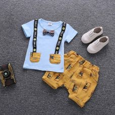 Get 27% off on Blue Half Sleeves Attached Bow T-Shirt and Shorts Set
