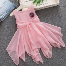 Flat 34% off on Stylish Pink Floral Applique Sleeveless Dress