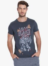 Jack & Jones Navy Blue Printed Slim Fit Round Neck T-Shirt for Rs. 850