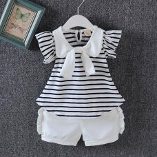 Buy Black Horizontal Stripe Top and Shorts Set from Hopscotch