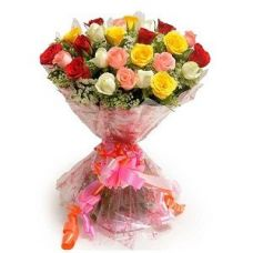 Buy FloralBay Mix Roses Bouquet in Cellophane Wrapping- Pack of 25 from Amazon