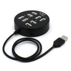 Flat 45% off on Black Round 8 Port Usb 2.0 High Speed Hub Usb 60cm Cable Adapter Splitter