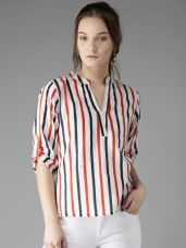 Flat 30% off on HERE&NOW Women White & Navy Lightweight Striped Shirt Style Top