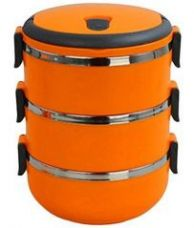 Buy 6th Dimensions Three Layer Stainless Steel Hot Vaccum Insulated Lunch Box(orang) for Rs. 439