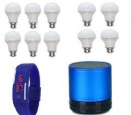 Buy Vizio Combo Of 7 W LED Bulbs(set Of 6), 3 W LED Bulbs(set Of 4) With Bluetooth Speaker , Digital Watch from Rediff