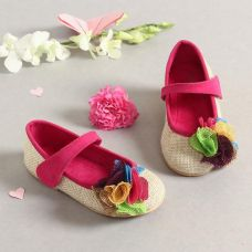 Buy Pink And Beige Jute Mary Jane With Flower from Hopscotch