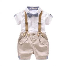 White Stylish Half Sleeves Shirt And Suspender Style Shorts Sets for Rs. 859