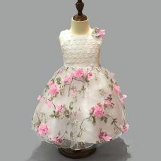 Buy Pink Flower Applique Dress from Hopscotch