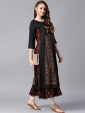 Get 70% off on ANAISA Women Black & Brown Printed Embroidered Layered Flared Kurta