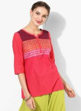 Buy Aurelia Pink Self Pattern Kurti for Rs. 244