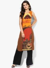 Get 65% off on AURELIA Orange Printed Straight Kurta