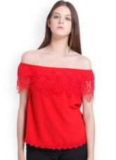 Flat 70% off on Vero Moda Red Solid Bardot Top