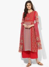 Buy Biba Red Printed Palazzo Kurta Dupatta for Rs. 2099