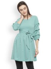 Buy Solid Cinched Waist Top from Myntra