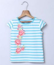 Buy Beebay Floral Print Stripe T-Shirt - White & Blue from FirstCry
