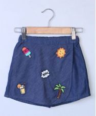 Flat 40% off on Beebay Funky Badge Applique Chambray Skirt - Blue