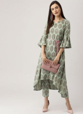 Libas Green Printed Kurta with Trousers for Rs. 1484